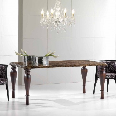 Prostokątny stół jadalny z ciemnego marmuru Emperador Made in Italy - Nicolas
