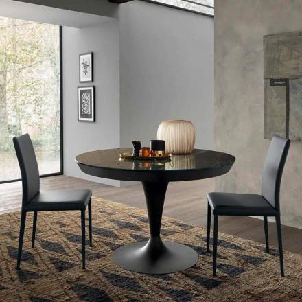 Okrągły rozkładany stół do jadalni z ceramiki Laminam Made in Italy - Lupetto
