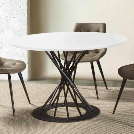 Okrągły stół z laminowanym blatem i stalową podstawą - Mileto