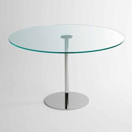 Okrągły stół z bardzo lekkim szklanym blatem Made in Italy - Dolce