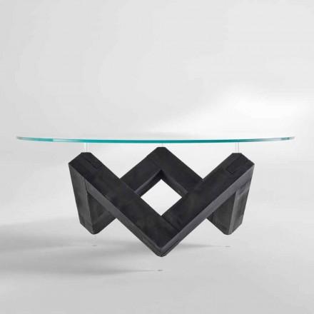 Stół okrągły z drewna z szklanym hartowanym blatem Bao