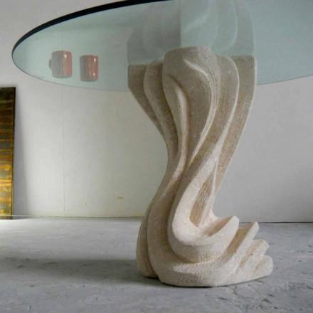 Stół okrągły z kamienia Vicenza i kryształu Cadmo, wyrzeźbiony ręcznie