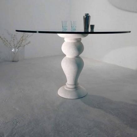 Stół okrągły z kamienia Vicenza i kryształu Edipo, wyrzeźbiony ręcznie