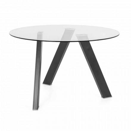 Okrągły stół jadalny o średnicy 120 cm w szklanym i metalowym wykonaniu - Tonto