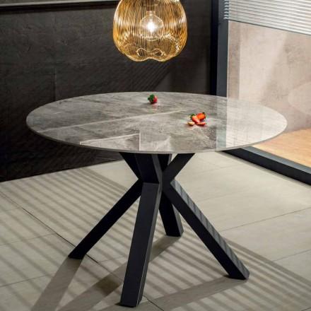 Nowoczesny okrągły stół do jadalni z efektem ceramicznego marmuru i metalu - Jarvis