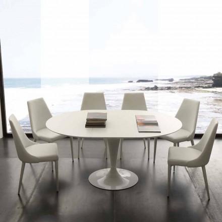 Stół okrągły rozkładany do 170 cm Topeka, nowoczesny design