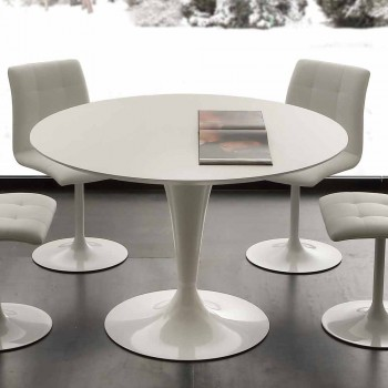 Biały okrągły stół jadalny Topeka, nowoczesny design