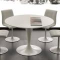 Biały okrągły stół Topeka, nowoczesny design