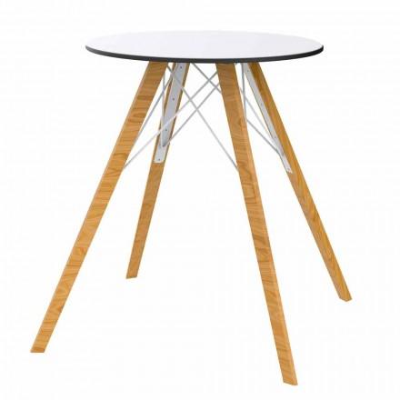 Okrągły stół do jadalni z drewna i blatu HPL, 4 elementy - drewno Faz firmy Vondom