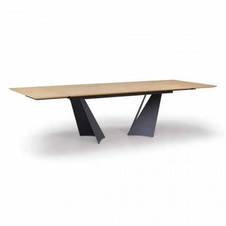 Rozkładany stół designerski do 294 cm z drewna i metalu Made in Italy - Nuzzo