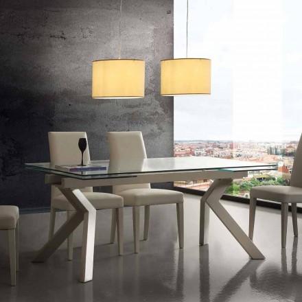 Stół rozkładany design z metalu i hartowanego szkła Mesa