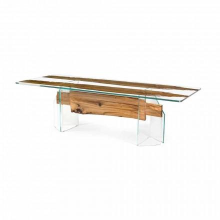 Stół drewniano-szklany prostokątny design Venezia
