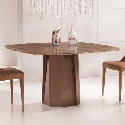 Stolik designerski z ciemnego marmuru Emperador 130x130 cm, wyprodukowany we Włoszech - Nuvolento