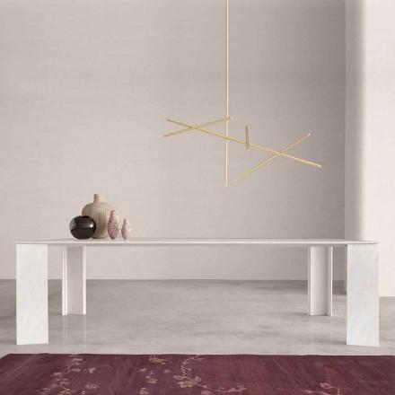 Stół designerski z białego marmuru z Namibii Wykonany we Włoszech, 210 x 110 cm - Monastero