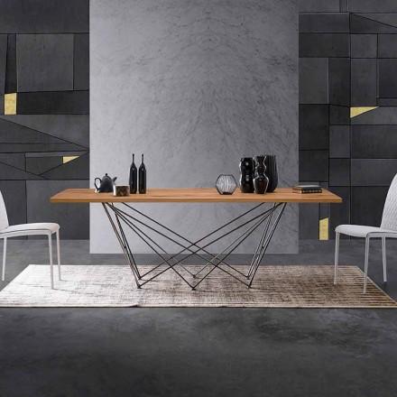Stol nowoczesny design z drewnianym blatem i podstawa metalowa Esperia