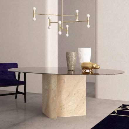 Eliptyczny stół z kryształowego i beżowego marmuru koralowego Made in Italy - Noccia
