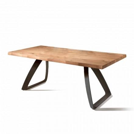 Stół fornirowany z dębu i czarnego metalu Logan