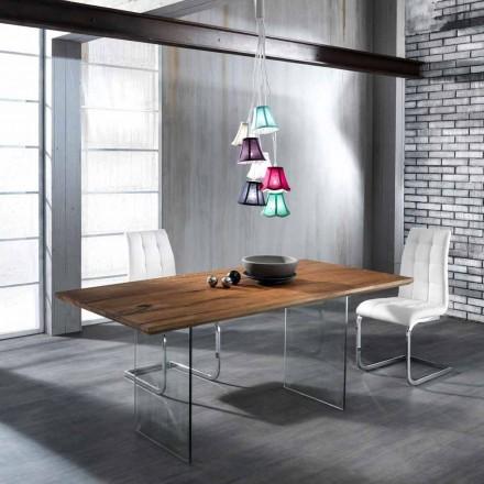 Stół z litego drewna z nogami ze szkła hartowanego model Tito