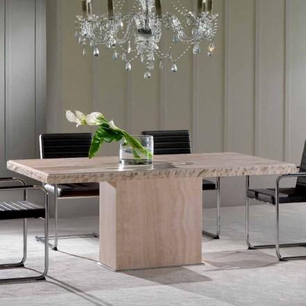 Stół z kamienia travertino z brzegiem ze skały model Narciso