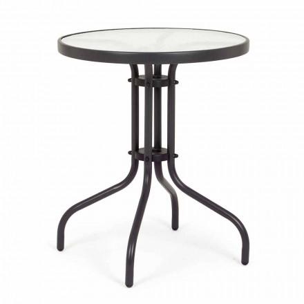 Okrągły stalowy stół ogrodowy z designerskim szklanym blatem - Purizia