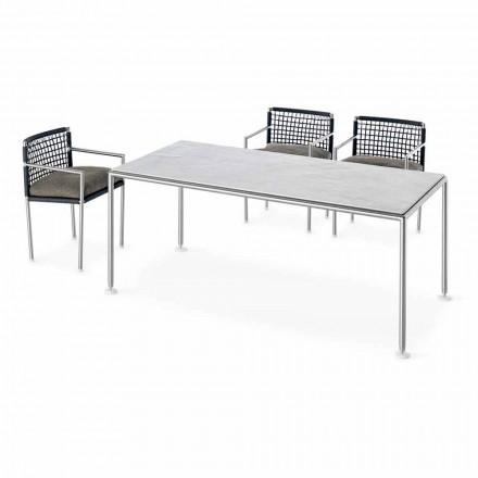 Nowoczesny design Zewnętrzny stalowy i kwarcowy stół Made in Italy - Ontario7