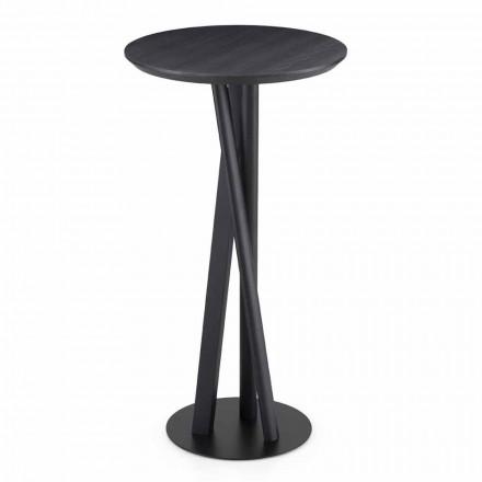 Stół z litego jesionu i metalu z okrągłym blatem Made in Italy - Baden