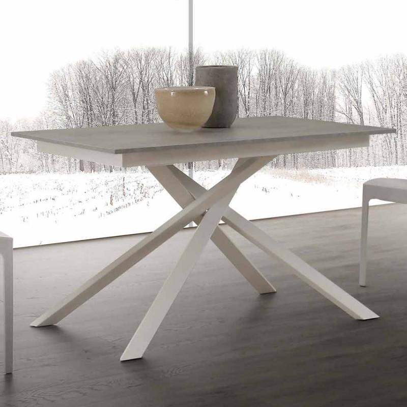 Drewniany stół wysuwany do 190 cm ze skrzyżowaną podstawą Lecce