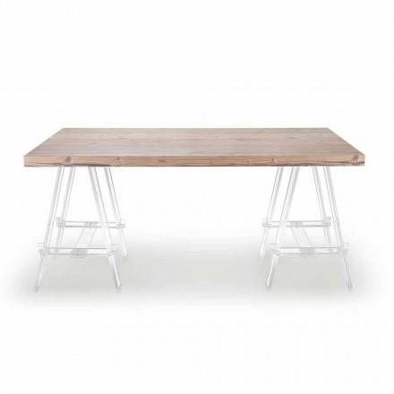 Drewniany stół z kozłami z pleksi Made in Italy - sztaluga