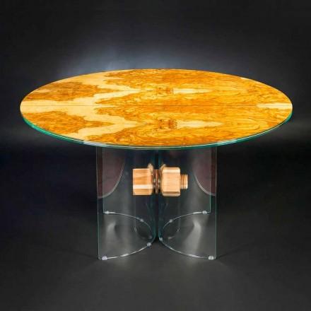 Stół z drewna oliwnego i szkła, okrągły Portofino Vgnewtrend