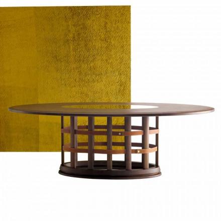 Nowoczesny eliptyczny stol z litego drewna Grilli Harris made in Italy