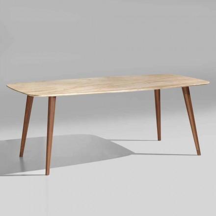 Wysokiej jakości nowoczesny stół z marmuru i drewna orzechowego Made in Italy - Hercules