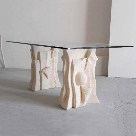 Stół wyrzeźbiony ręcznie z kamienia Vicenza i kryształu Priamo