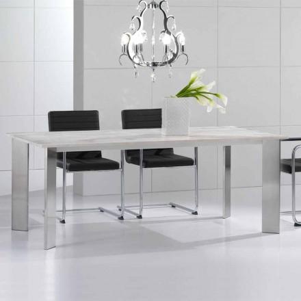 Stół z kamienia travertino z nogami stalowymi z połyskiem Pompilio