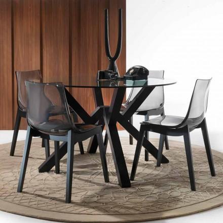 Stół okrągły szkło i drewno bukowe gratifowy model Burgos