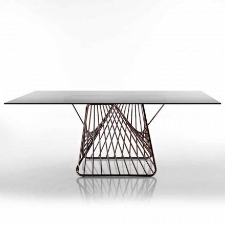 Nowoczesny stół ze szkła hartowanego wyprodukowanego we Włoszech, Mitia