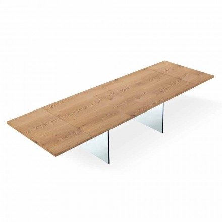 Rozkładany nowoczesny stół do 300 cm w laminowanym i szklanym wykonaniu Made in Italy - Strappo