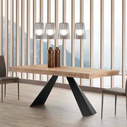 Nowoczesny stół rozkładany do 260/280 cm z drewna i metalu Teramo