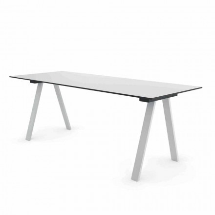 Nowoczesny stolik ogrodowy z metalu i HPL Made in Italy - Denzil
