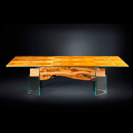 Stół z drewna oliwnego i szkła, prostokątny Portofino Vgnewtrend