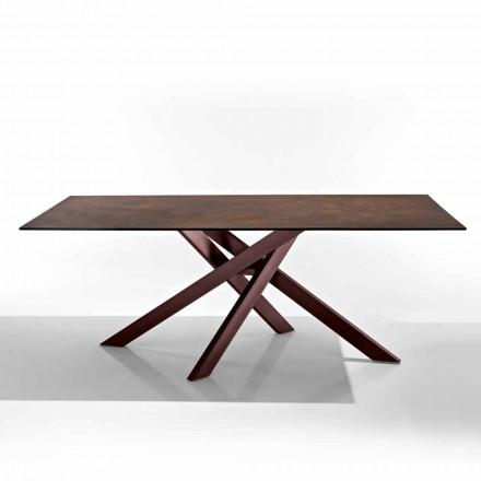 Nowoczesny stół z płyty szklano-ceramicznej i metalu wyprodukowanego we Włoszech, Dionigi