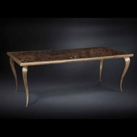 Stół z strukturą z litego drewna i blatem z marmuru Adam