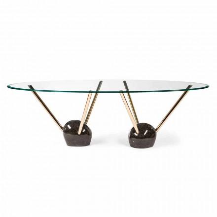 Owalny stół z 100% Made in Italy Zoe ze szkła