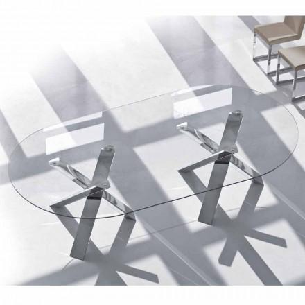 Stół o owalnym wzorze w krysztale 220x120cm wykonany we Włoszech