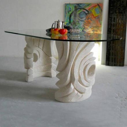 Stół owalny z kamienia Vicenza i kryształu Erinni