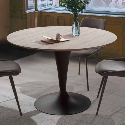 Stół do jadalni z rozkładanym okrągłym blatem do 170 cm - Moreno