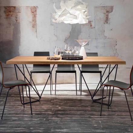 Dębowy stół do jadalni z metalowymi nogami Made in Italy - Eolo
