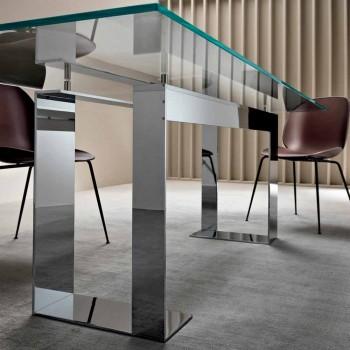Blat z wyjątkowo przezroczystego szkła i metalowych nóg 3 wykończenia 4 rozmiary - Speck