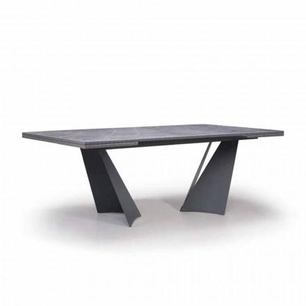 Stół rozkładany do 294 cm z gresu i metalu Made in Italy - Nuzzio