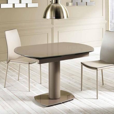 Wysuwany stół ze szkła i imitacji skóry, L120 / 180xP90cm, Lelia