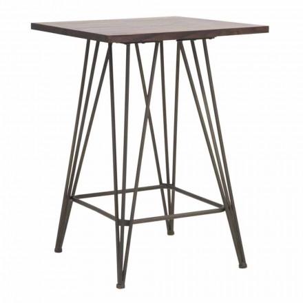 Industrialny wysoki kwadratowy stół z żelaza i drewna - Helle